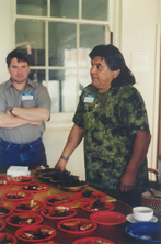 Clarence Hostler explaining the preparation of native foods